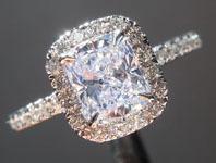 SOLD...Colorless Cushion Diamond Ring: 1.01ct D SI1 Cushion Cut Diamond Halo Ring GIA  R5932