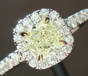 SOLD.......Yellow Diamond Ring: .62ct Y-Z Internally Flawless Cushion Modified Brilliant Diamond Halo Ring GIA R6011