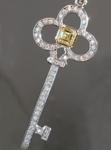 SOLD....Yellow Diamond Pendant: .29ct Fancy Intense Yellow VS1 Asscher Cut Diamond Key Pendant R6061