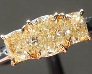 SOLD...Yellow Diamond Ring: 1.30ctw Fancy Yellow VS Cushion Cut Three Stone Diamond Ring R6114