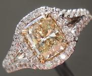 SOLD...Yellow Diamond Ring: 1.00ct U-V VS1 Cushion Cut Split Shank Diamond Halo Ring R6112