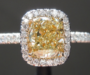 SOLD....Yellow Diamond Ring: 1.22ct Y-Z VS1 Cushion Cut Diamond Halo Ring GIA R6080