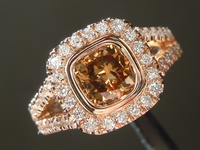 SOLD.....   Brown Diamond Ring: 1.04ct Fancy Yellow Brown SI1 Cushion Cut Diamond Halo Ring R6145