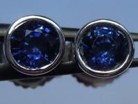 SOLD...Sapphire Earrings: 1.08ctw Blue Round Brilliant Sapphire Stud Earrings R6155