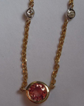 SOLD...Sapphire Necklace: 1.25ctw Salmon Round Brilliant Sapphire and Diamond Necklace R4559
