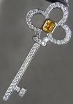 0.19ct Intense Orange Yellow Asscher Cut Diamond Pendant R6085