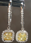 SOLD.....Diamond Earrings: 1.47cts Fancy Intense Yellow Cushion Cut Diamond Dangle Earrings GIA R5709