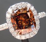 SOLD...Brown Diamond Ring: 2.24ct Fancy Deep Brown SI2 Cushion Cut Diamond Halo Ring R6146