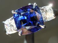 SOLD...Sapphire and Diamond Ring: 3.18ct Blue Cushion Cut Sapphire .87ct E-F sides R6156