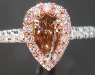 SOLD.....Brown Diamond Ring: .58ct Fancy Deep Yellow Brown VS2 Pear Shape Diamond Halo Ring R6133