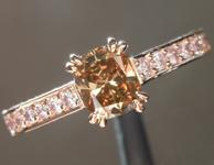 0.53ct Deep Orangy Brown VS2 Cushion Cut Diamond Ring R6167