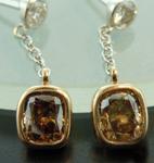 SOLD.....Brown Diamond Earrings: 1.39ctw Brown and Colorless Diamond Drop Earrings R6192