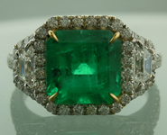 SOLD.......Emerald Ring: 3.15ct Asscher Cut Emerald and Diamond Halo Ring R6196