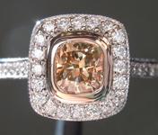0.57ct Deep Yellow Brown VS2 Cushion Cut Diamond Ring R6165