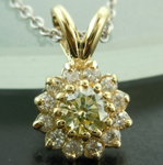 SOLD...Diamond Pendant: .20ct M VS1 Round Brilliant Diamond Halo Pendant R5985