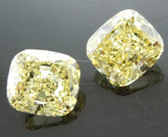 SOLD.....Yellow Diamond Earrings: 1.48cts Fancy Yellow SI2 Cushion Cut Diamond Earrings R6212