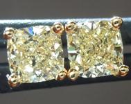 SOLD....Yellow Diamond Earrings: .57ctw Fancy Light Yellow VS-SI Cushion Cut Diamond Stud Earrings R6218