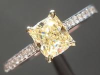 0.65ct Yellow VVS1 Cushion Cut Diamond Ring R6239