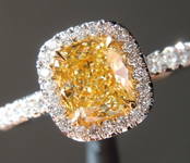 0.75ct Intense Yellow SI2 Cushion Cut Diamond Ring R6231