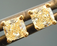 SOLD...Yellow Diamond Earrings: .50ctw Y-Z VS Cushion Cut Diamond Stud Earrings R6217
