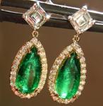 SOLD...Emerald Earrings: 2.00cts Pear Shape Emerald Diamond Dangle Earrings R6130