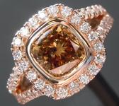 SOLD....Brown Diamond Ring: 1.53ct Fancy Deep Yellow Brown SI2 Cushion Cut Diamond Halo Ring R6197
