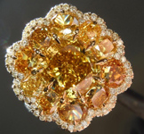 3.01ct Deep Brownish Yellow Cushion Cut Diamond Ring R6154