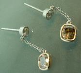 SOLD.......Brown Diamond Earrings: 1.10cts Fancy Yellow Brown VS Cushion Cut Diamond Dangle Earrings R6157