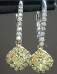 SOLD...Yellow Diamond Earrings: .46cts Fancy Light Yellow Cushion Cut Diamond Halo Dangle Earrings R6253