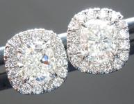 SOLD...Colorless Diamond Earrings: 1.00cts H VVS Cushion Cut Diamond Halo Earrings GIA R6267