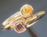 SOLD...Diamond Ring: .41ctw Fancy Vivid Orangy Yellow and Fancy Deep Pink Brown Diamond Bypass Ring R6280