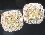 SOLD....0.45cts Yellow VS1 Cushion Cut Diamond Earrings R6254