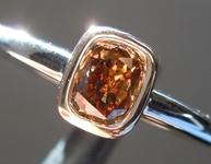 SOLD...Brown Diamond Ring: .37ct Fancy Yellowish Brown Cushion Cut SI1 Diamond Ring R6291