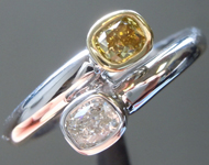 SOLD...Diamond Ring: .46ctw Fancy Deep Green Yellow and Colorless Cushion Diamond Ring R6279