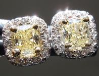 SOLD....Yellow Diamond Earrings: .64cts Fancy Light Yellow VS Cushion Cut Diamond Halo Earrings R6252