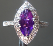 SOLD......Gemstone Ring: .95ct Marquise Amethyst and Diamond Halo Ring R6330