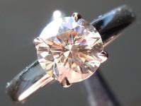 SOLD.......Light Brown Diamond Ring: 1.22ct U-V, Light Brown Pink Gold GIA R6371