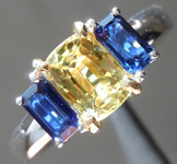 SOLD....Sapphire Ring: 1.93ctw Yellow and Blue Sapphire Three Stone Ring R6401