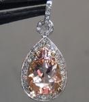 SOLD... Morganite Pendant: 2.20ct Pear Shape Morganite and Diamond Halo Pendant R6356