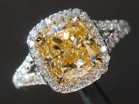 2.00ct Fancy Yellow VVS1 Cushion Cut Diamond Ring GIA R6448
