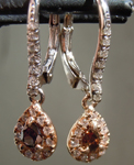 SOLD...Diamond Earrings: .34cts Fancy Deep Brown Pear Shape Diamond Dangle Earrings R6410