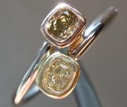 SOLD.......Diamond Ring: .37ctw Fancy Yellow and Fancy Deep Green Yellow Diamond Ring R6041