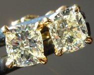 SOLD.....Yellow Diamond Earrings: .73ctw Y-Z VS1 Cushion Cut Diamond Stud Earrings R6531