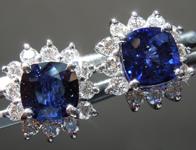 SOLD...Sapphire Earrings: 2.14cts Blue Cushion Cut Sapphire and Diamond Halo Earrings R6451