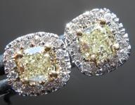 SOLD...Yellow Diamond Earrings: .90cts W-X SI1 Cushion Cut Diamond Halo Earrings R6490