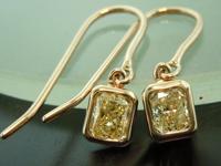 SOLD...Yellow Diamond Earrings: .88cts Y-Z VS Radiant Cut Diamond Earrings R6491