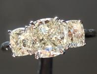 SOLD...Three Stone Diamond Ring: 1.27ct L VS1 Cushion Cut 1.15ct sides GIA R6547