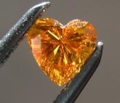 SOLD.... Loose Diamond: .16ct Deep Yellow Orange Heart Diamond DRAMATIC color R6608