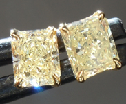 SOLD.....Diamond Earrings: .67ctw Fancy Light - Fancy Yellow VS Radiant Cut Diamond Stud Earrings R6633