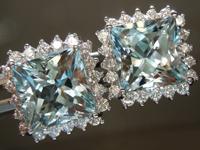 SOLD...6.80cts Princess Cut Aquamarine Earrings R6511